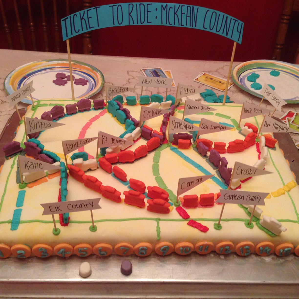 Cake version of Ticket to Ride board game